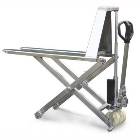 Transpalette manuel haute levée inox 316 - 1000kg Fourches 1170mm