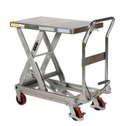 Table élévatrice hydraulique inox 450Kg vue de 3/4